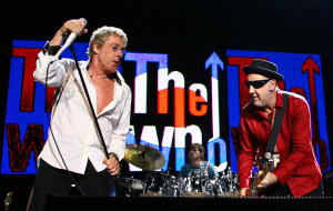 BRISBANE, AUSTRALIA - MARCH 24: Pete Townshend (R) and Roger Daltrey of The Who perform on stage at the Brisbane Entertainment Centre on March 24, 2009 in Brisbane, Australia. (Photo by Bradley Kanaris/Getty Images)