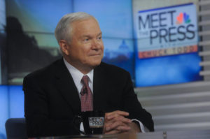 """MEET THE PRESS -- Pictured: (l-r)  Former Defense Secretary Robert Gates appears on """"Meet the Press"""" in Washington, D.C., Sunday Jan. 24, 2016. (Photo by: William B. Plowman/NBC/NBC NewsWire via Getty Images)"""