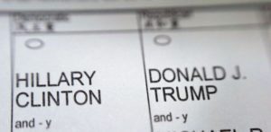 A New York City election ballot shows the names of Democratic presidential candidate Hillary Clinton and Republican presidential candidate Donald Trump on Tuesday, Nov. 8, 2016. (AP Photo/Patrick Sison)